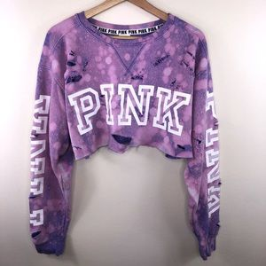 VS PINK cropped and distressed pullover Shirt LG